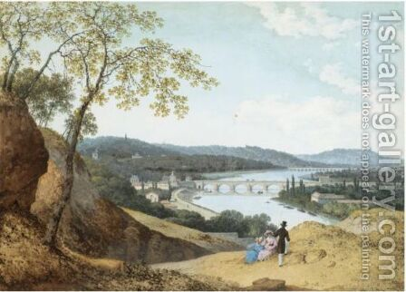 View From A Hillside Of A Town In A River Valley, With Three Figures Resting In The Foreground by Henri Knip - Reproduction Oil Painting