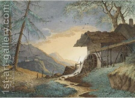 A Watermill In An Alpine Landscape by (after) Hendrik Johannes Knip - Reproduction Oil Painting