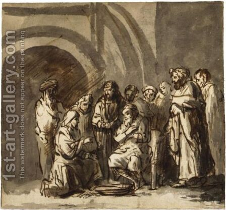 The Washing Of The Feet by (after) Harmenszoon Van Rijn Rembrandt - Reproduction Oil Painting