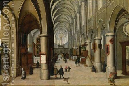 A Church Interior With Figures Strolling by (after) Hendrick Van Steenwijck I - Reproduction Oil Painting