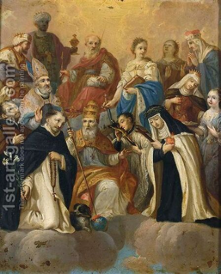 The Holy Family With St. John Surrounded By St. Francis by Dutch School - Reproduction Oil Painting
