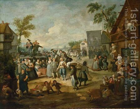 A Fair With A Quack Pulling Teeth In A Village by (after) Egbert Van, The Younger Heemskerck - Reproduction Oil Painting