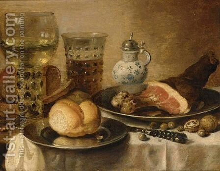 A Still Life Of A Roemer, A Beer Glass, A Ham And A Bread Roll On Pewter Plates by (after) Pieter Claesz - Reproduction Oil Painting