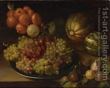 A Still Life With Black And White Grapes On A Silver Platter, Together With Figs, Melons And Unions, All On A Table by (after) Isaak Soreau - Reproduction Oil Painting