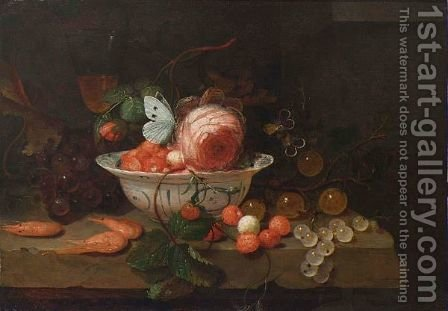 A Stil Life With A Porcelain Bowl With Strawberries, A Rose And A Butterfly, A Wineglass, Grapes, Prawns, Gooseberries, All On A Stone Ledge by Jan Mortel - Reproduction Oil Painting
