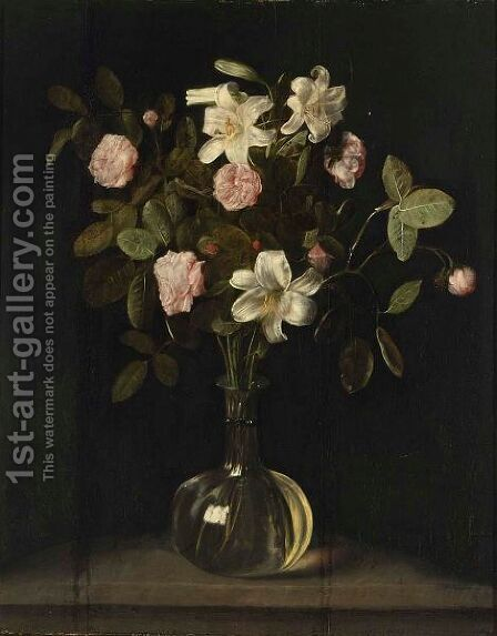 A Still Life Of Roses And Lilies In A Glass Vase On A Stone Ledge by Dutch School - Reproduction Oil Painting