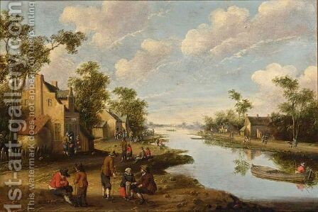 A River Landscape With Figures Resting Near An Inn, A Fisherman In A Boat To The Right by Cornelius Droochsloot - Reproduction Oil Painting