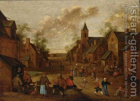 A Village Street With Peasants Conversing And Drinking Near An Inn, A Church To The Right by Cornelius Droochsloot - Reproduction Oil Painting