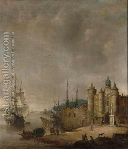 A Harbour Scene With A Man-Of-War And Other Shipping, Figures Conversing On The Shore by Jan Abrahamsz. Beerstraten - Reproduction Oil Painting
