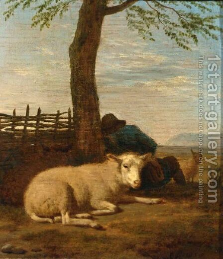 A Shepherd Sleeping Against A Tree With His Flock Of Sheep by (after) Adriaen Van De Velde - Reproduction Oil Painting