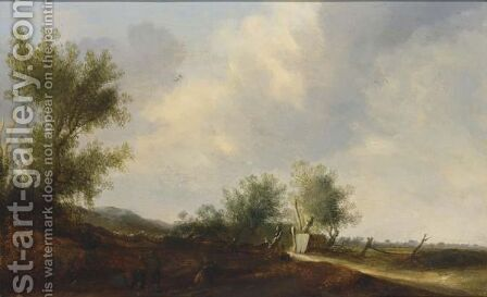 A Dune Landscape With Travellers Resting Near A Road by Cornelis Symonsz van der Schalcke - Reproduction Oil Painting