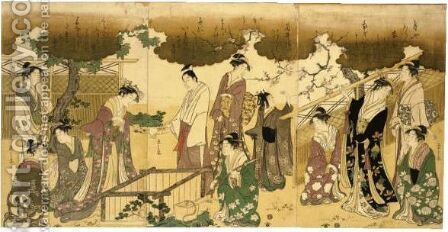 'Mitate Tsutsu Izutsu' (A Parody Of The Well Curb) by Chobunsai Eishi - Reproduction Oil Painting
