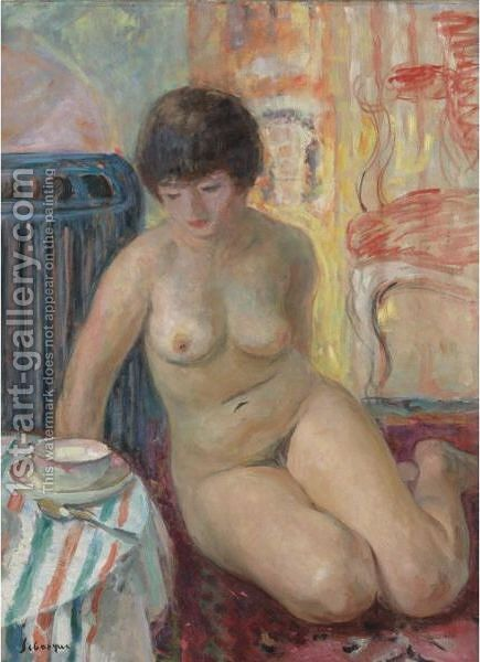 Nu A La Tasse De The by Henri Lebasque - Reproduction Oil Painting
