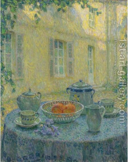 La Nappe Bleue, Gerberoy by Henri Eugene Augustin Le Sidaner - Reproduction Oil Painting