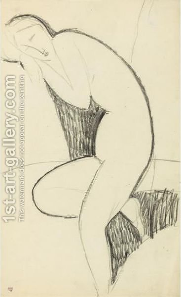 Femme Nue De Profil, Penchee En Avant, Endormie, La Tete Appuyee Sur Les Bras Replies by Amedeo Modigliani - Reproduction Oil Painting