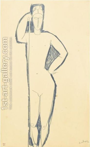 Homme Nu De Face SAappuyant Sur Un Baton by Amedeo Modigliani - Reproduction Oil Painting