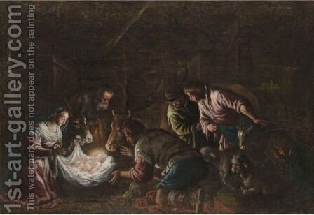 The Adoration Of The Shepherds by (after) Francesco Da Ponte, Called Francesco Bassano - Reproduction Oil Painting