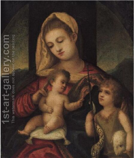 The Madonna And Child With The Infant Saint John The Baptist by (after) Polidoro Lanzani (see Polidoro Da Lanciano) - Reproduction Oil Painting