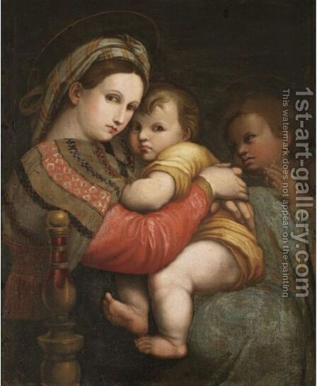 'Madonna Della Sedia' by (after) Raphael (Raffaello Sanzio of Urbino) - Reproduction Oil Painting
