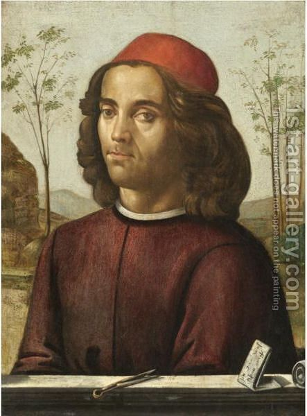 Portrait Of A Gentleman, Head And Shoulders, Wearing A Crimson Tunic, With A Pair Of Dividers On A Stone Ledge by (after) Domenico Ghirlandaio - Reproduction Oil Painting