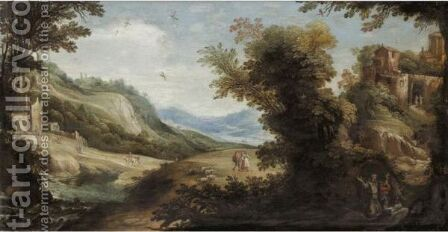 An Extensive River Landscape With A Hermit Saint In The Foreground A Temple And Ruins Beyond by (after) Paul Bril - Reproduction Oil Painting