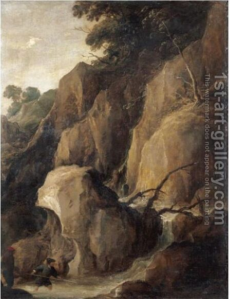A Rocky Torrent With Fishermen by (after) Joos De Momper - Reproduction Oil Painting