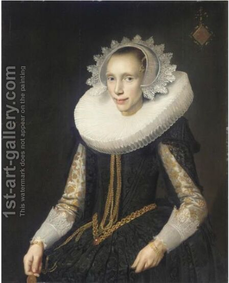Portrait Of A Young Lady, Half Length, Wearing A Black Dress And An Elaborate Ruff And Headress by Jan Damen Cool - Reproduction Oil Painting