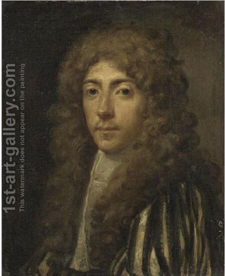 Portrait Of A Gentleman, Head And Shoulders, Wearing A Striped Doublet by (after) William Wissing Or Wissmig - Reproduction Oil Painting