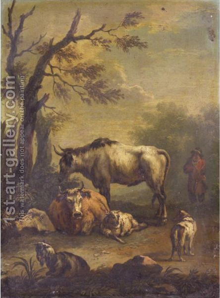 Landscape  With A Drover, Cattle And A Goat Beneath A Tree by Dutch School - Reproduction Oil Painting