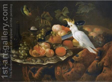 A Still Life With Grapes Pommegranates, Peaches, Oranges And Other Fruit On Pewter Plates by (after) Tobias Stranover - Reproduction Oil Painting