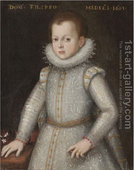 Portrait Of Young Boy, Half Length, Wearing White With An Elaborate Ruff And Resting His Hand On The Table Said To Be Filippo De Medici by (after) Tiberio Titi - Reproduction Oil Painting