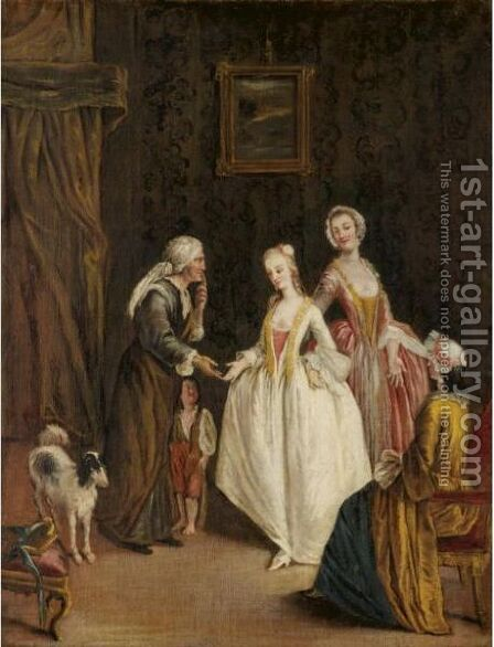 An Interior With An Elderly Lady And Her Child Receiving Charity From Three Young Ladies by (after) Longhi, Pietro - Reproduction Oil Painting
