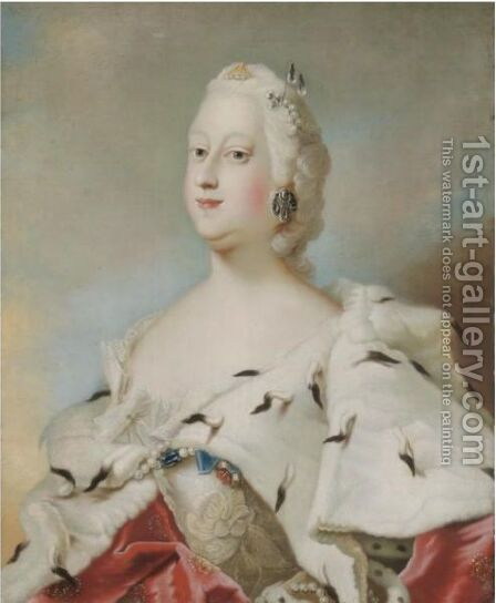 Portrait Of Queen Louis Of Denmark (1724-1751) by (after) Carl Gustaf Pilo - Reproduction Oil Painting