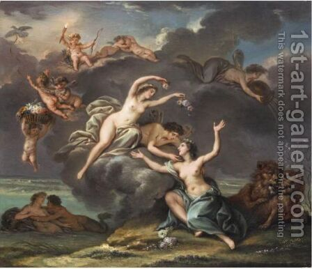 Cupid And Psyche Crowning Cybele by (after) Louis De Boullogne II - Reproduction Oil Painting