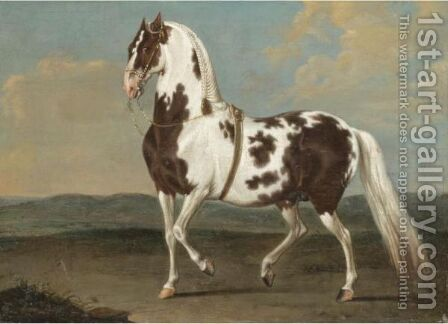 Portrait Of A Dressage Stallion In A Landscape by (after) Johann Georg Hamilton - Reproduction Oil Painting