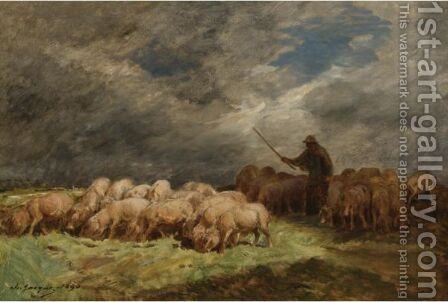 The Swineherd 2 by Charles Émile Jacque - Reproduction Oil Painting