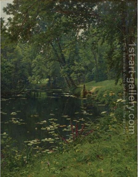 A Woodland Pond by Henri Biva - Reproduction Oil Painting
