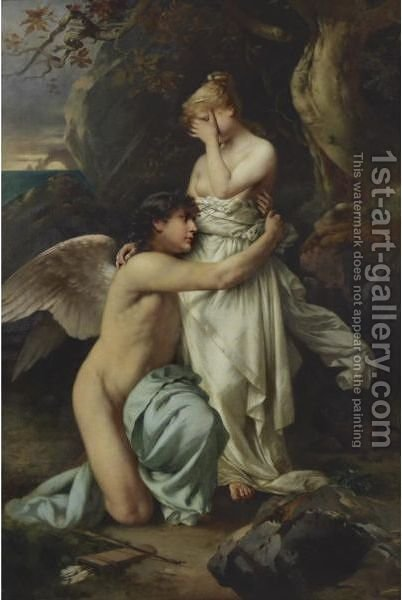 Cupid Comforting Psyche by Daniel Hock - Reproduction Oil Painting
