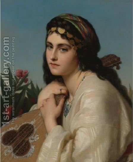 Portrait Of A Girl A La Orientale by Continental School - Reproduction Oil Painting