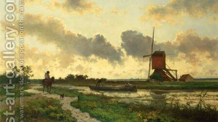 Sunset Near Boskoop by Jan Hendrik Weissenbruch - Reproduction Oil Painting