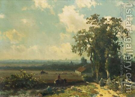 Figures In A Summer Landscape by Jan Hendrik Weissenbruch - Reproduction Oil Painting
