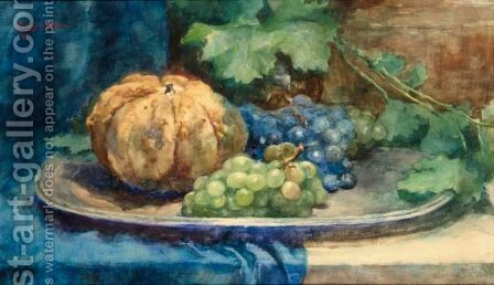 A Still Life With Grapes And A Pumpkin by Cornelie Josephine Wilhelmina Slager - Reproduction Oil Painting