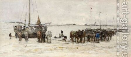Bomschuiten On The Beach by Anton Mauve - Reproduction Oil Painting