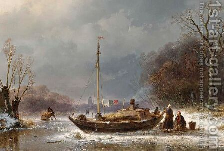 A Wintry Scene With Figures Near A Boat On The Ice by Andreas Schelfhout - Reproduction Oil Painting
