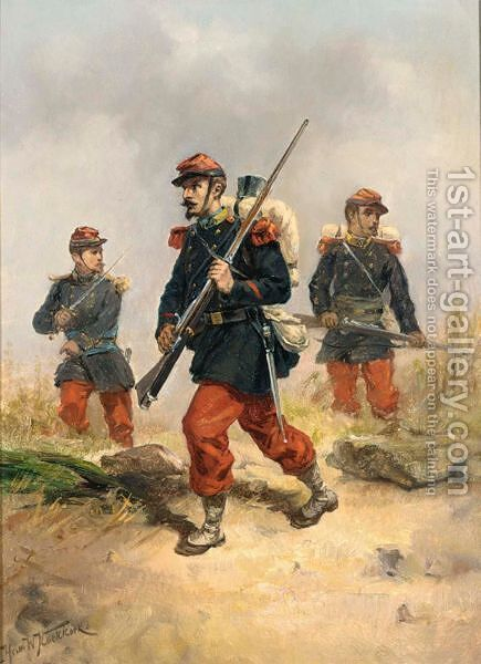 Soldiers In A Field by Hermanus Koekkoek - Reproduction Oil Painting