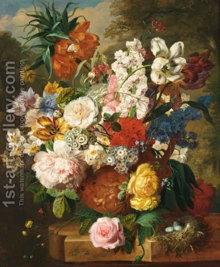 A Still Life With Tulips, Roses, Peonies And Various Other Flowers In A Terracotta Vase And A Bird's Nest On A Marble Ledge by Dutch School - Reproduction Oil Painting