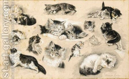 A Study Of Kittens by Henriette Ronner-Knip - Reproduction Oil Painting