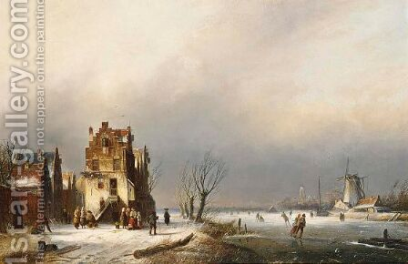 A Winter Landscape With Skaters Near A Village by Jan Jacob Coenraad Spohler - Reproduction Oil Painting