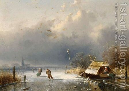 A Winter Landscape With Figures On The Ice 5 by Charles Henri Leickert - Reproduction Oil Painting