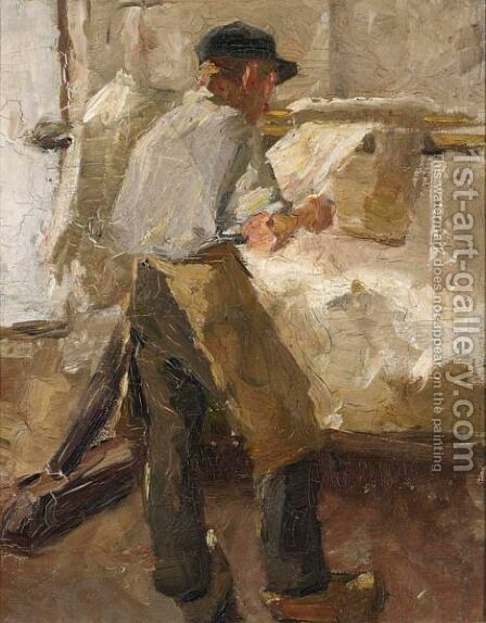 A Young Workman At A Stretching Frame 2 by Alexander Gerhard Anton Ridder Van Rappard - Reproduction Oil Painting